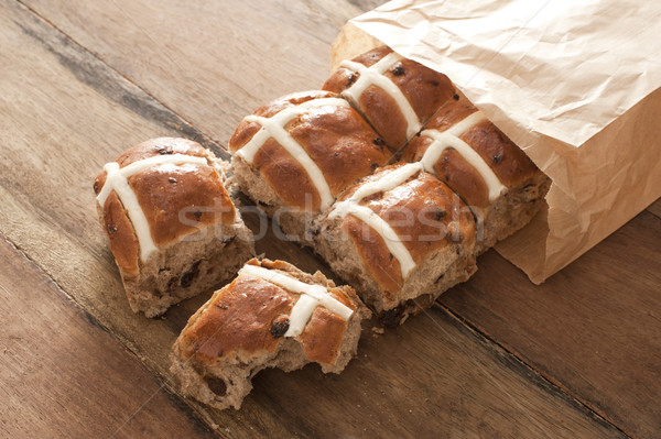 Hot Cross Buns for Easter in a paper packet Stock photo © photohome