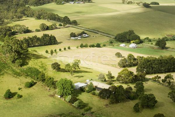 Kicsi vidéki farmok felülnézet tákolmány mezők Stock fotó © photohome