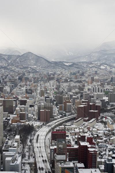 Város Japán felülnézet lefelé autópálya épületek Stock fotó © photohome