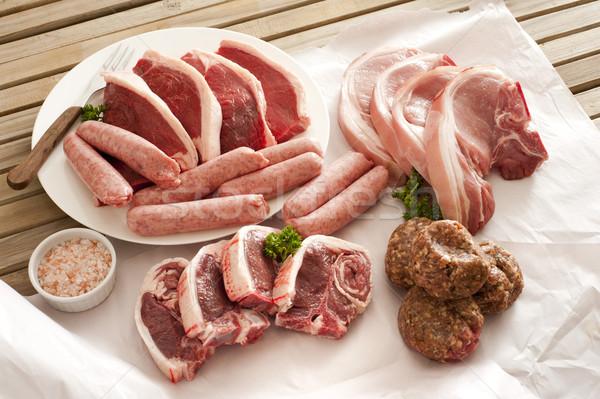 Сток-фото: сырой · мяса · деревянный · стол · свинина