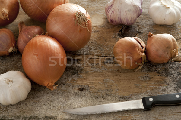 Diverse selection of spanish onions and garlic Stock photo © photohome