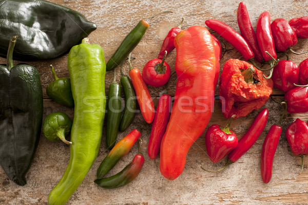 Different varieties and colors of chili peppers Stock photo © photohome