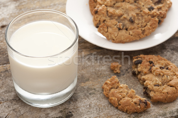 Glass of Milk Beside Plate of Fresh Baked Cookies Stock photo © photohome