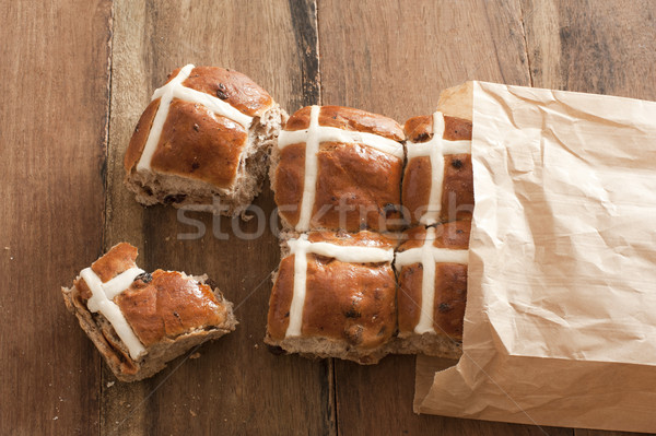 Bag full of fresh hot cross buns Stock photo © photohome