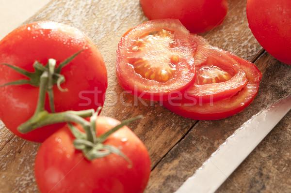 Frissen érett piros paradicsomok vízcseppek egész Stock fotó © photohome