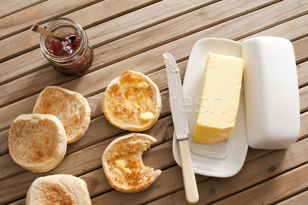 English Muffins, Butter and Jam on Wooden Table Stock photo © photohome