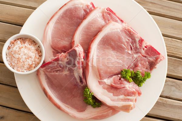 生 豚肉 表示 4 プレート 準備 ストックフォト © photohome