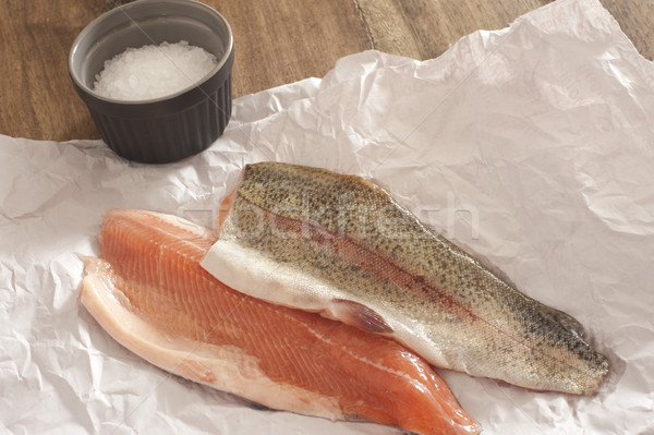 Two fresh raw rainbow trout fillets Stock photo © photohome