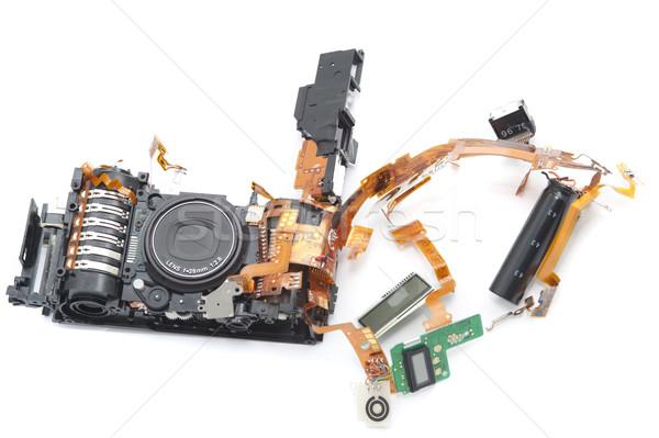 Digitális fényképezőgép védtelen lencse egy zöld tábla Stock fotó © photohome