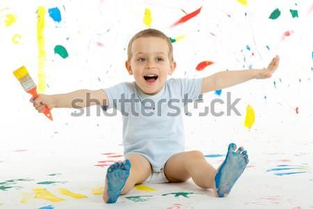 Imádnivaló év öreg fiú gyermek foltok Stock fotó © Photoline
