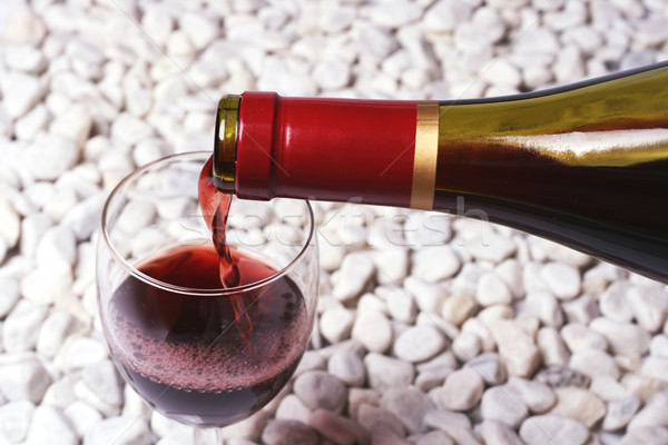 Wino czerwone biały kamień wina para szkła Zdjęcia stock © Photoline