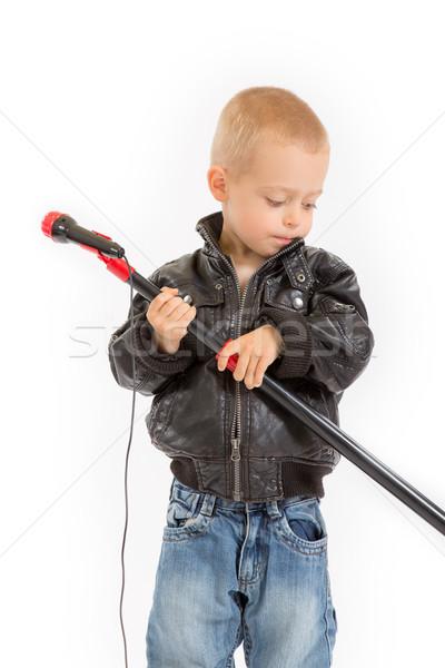 Mały biegun chłopca mikrofon stoją Zdjęcia stock © Photoline