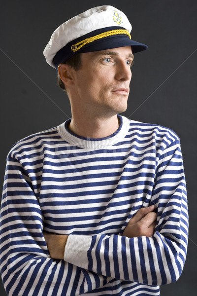 Young sailor man with white sailor hat Stock photo © Photoline