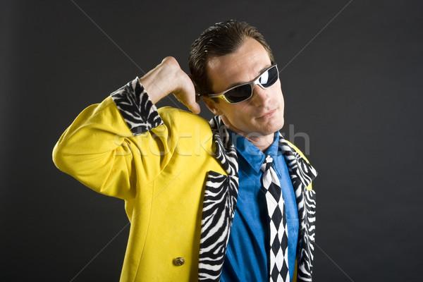 Rockabilly chanteur 1950 jaune veste style rétro Photo stock © Photoline