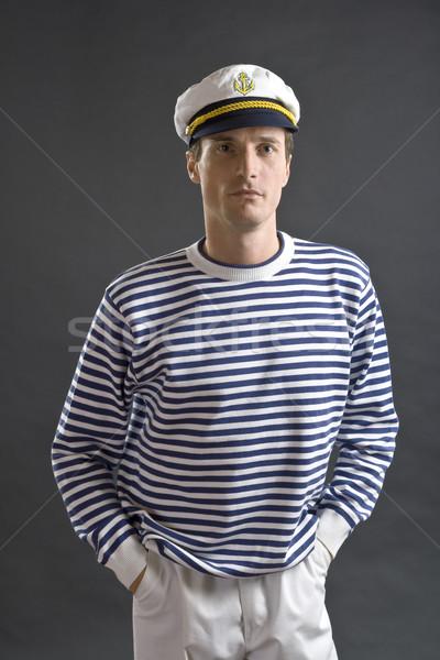 Młodych marynarz człowiek biały hat portret Zdjęcia stock © Photoline