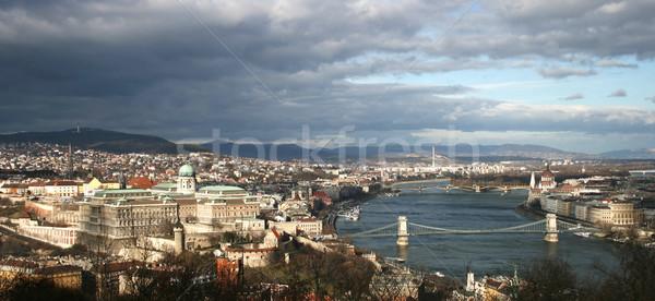 Panorama Budapeszt budynku miasta most rzeki Zdjęcia stock © Photoline