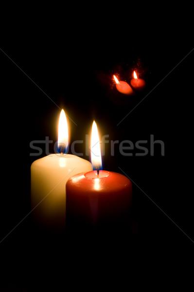 Czerwony żółty świece czarny refleksji christmas Zdjęcia stock © Photoline