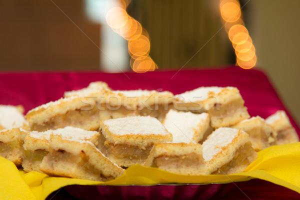 Magyar almás pite szeletek karácsony torta desszert Stock fotó © Photoline