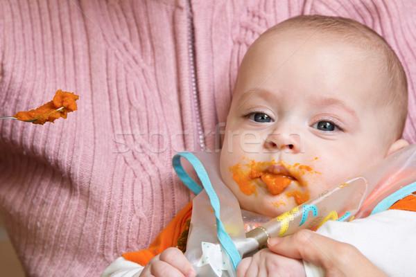 Anyu gyermek család arc kék portré Stock fotó © Photoline