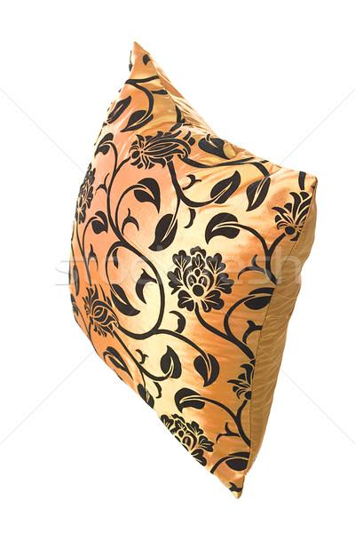 Arany selyem párna fekete díszek fehér Stock fotó © Photoline