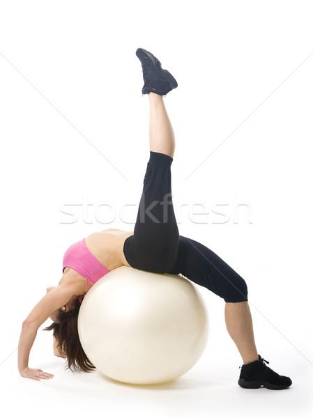 Nő vonzó középkorú nő sportruha fitnessz testmozgás Stock fotó © Photoline