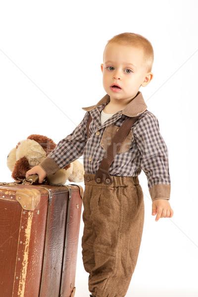 Little boy with suitcase Stock photo © Photoline