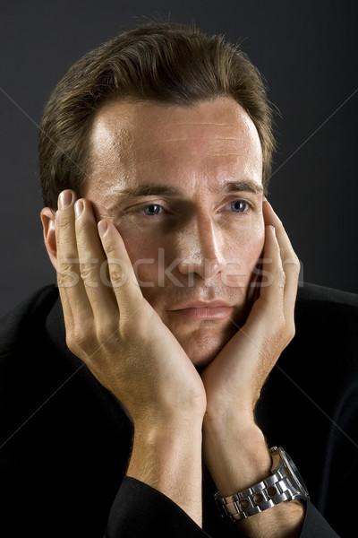 Człowiek czarny obiedzie kurtka muszka biznesmen Zdjęcia stock © Photoline