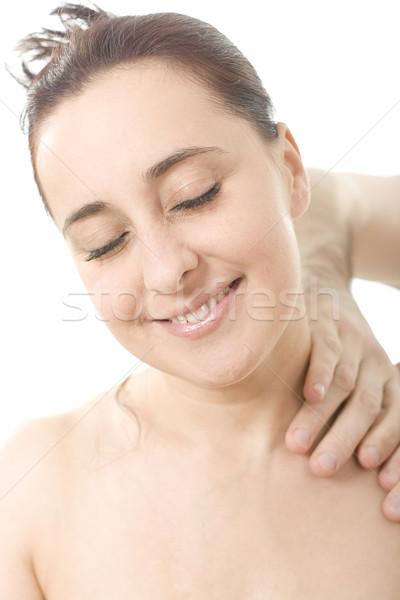 Megnyugtató szép hölgy masszázs arc nők Stock fotó © Photoline