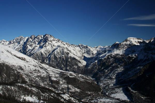 Panorama domu drewna lasu śniegu piękna Zdjęcia stock © Photoline