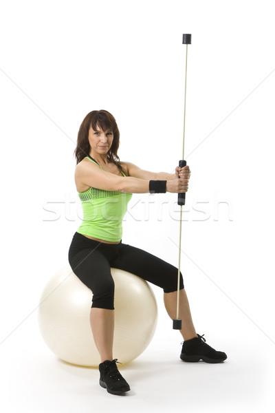Nő vonzó középkorú nő sportruha nők fitnessz Stock fotó © Photoline