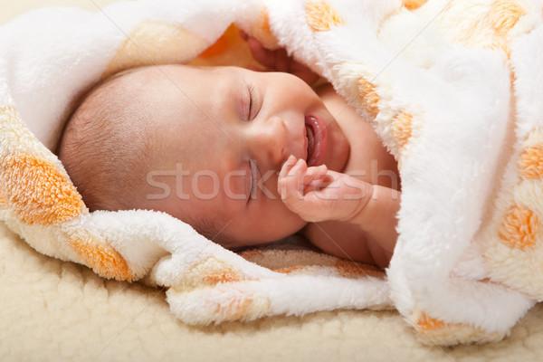 Baba sír puha pléd szemek gyermek Stock fotó © Photoline