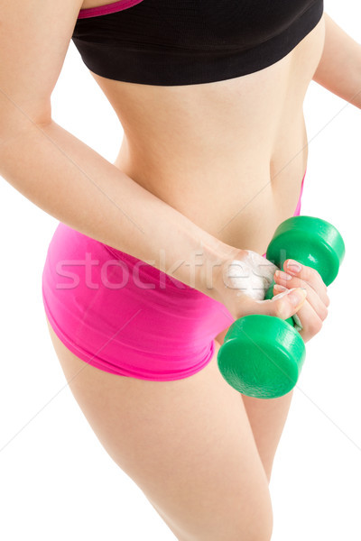 Fitness dziewczyna zielone hantle różowy spodnie Zdjęcia stock © Photoline