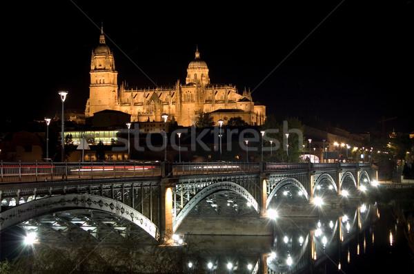 View of Salamanca cathedral at night Stock photo © Photooiasson