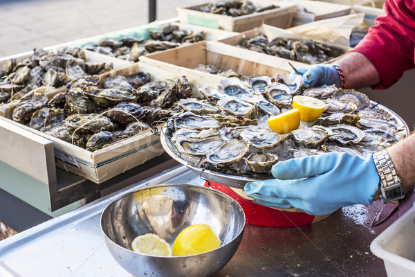 Fresh oysters, streetfood. Stock photo © Photooiasson