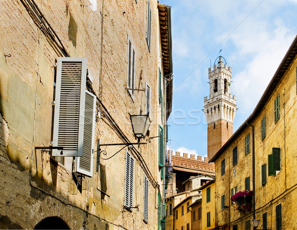 Antique street of Sinea with Mangia tower in background. Siena, Italy Stock photo © Photooiasson