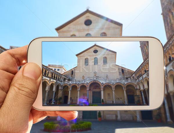 大聖堂 イタリア 男性 手 写真 ストックフォト © Photooiasson