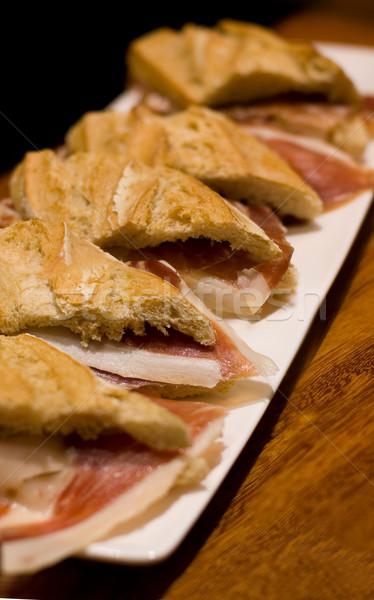 Foto stock: Serrano · espanhol · presunto · pão · prato · sanduíche