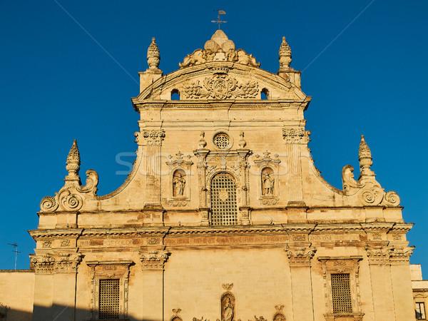 Templom naplemente Olaszország barokk homlokzat épület Stock fotó © Photooiasson