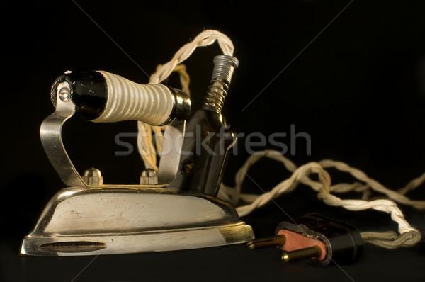 Antik elektromos vasaló fekete acél elektromosság Stock fotó © Photooiasson