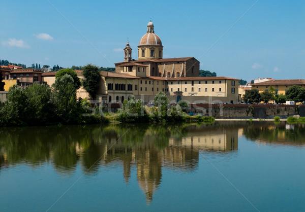 Florence Olaszország kilátás templom vallás európai Stock fotó © Photooiasson