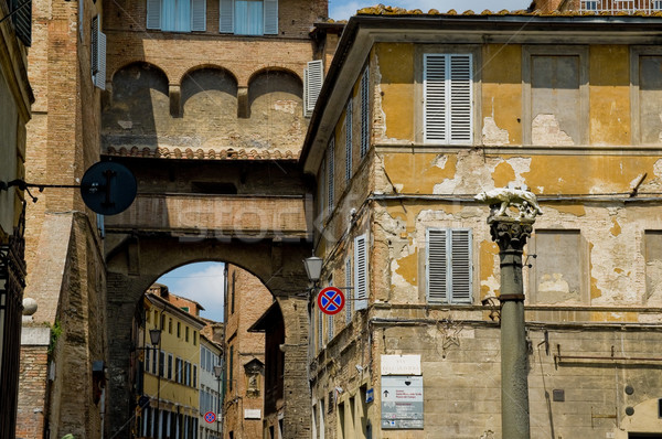 Siena street with Romulus and Remus Monument. Siena Stock photo © Photooiasson