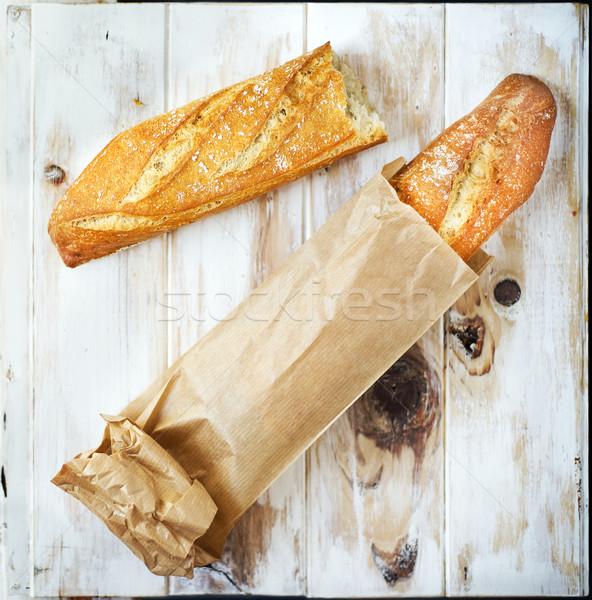 Francia kenyér papírzacskó cipó kenyér európai stílus Stock fotó © Photooiasson