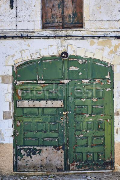 アンティーク 緑 ドア タウン ポルトガル 木製 ストックフォト © Photooiasson