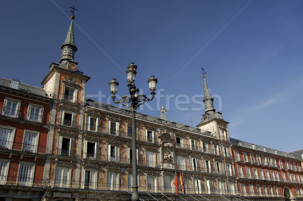 Vierkante Madrid huis bouw steen winkel Stockfoto © Photooiasson