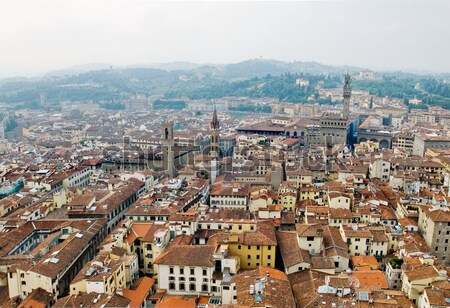 Stock photo: Florence panoramic view and The Palazzo Vecchio and Arnolfo tower. Florence, Italy