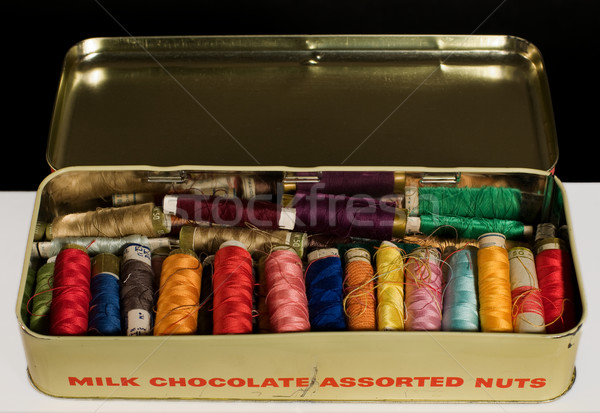 Colorful spools of thread in old metal box Stock photo © Photooiasson
