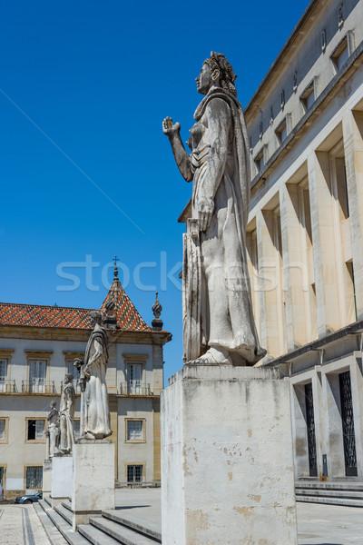 Szobor egyetem Portugália elöl iskola építészet Stock fotó © Photooiasson
