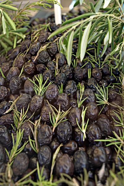 Fekete oliva mediterrán stílus rusztikus bemutató rozmaring Stock fotó © Photooiasson