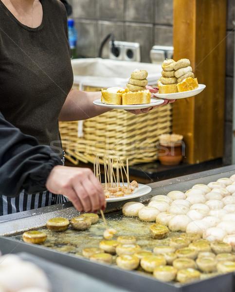 Tipikus spanyol gombák szakács főzés étterem Stock fotó © Photooiasson