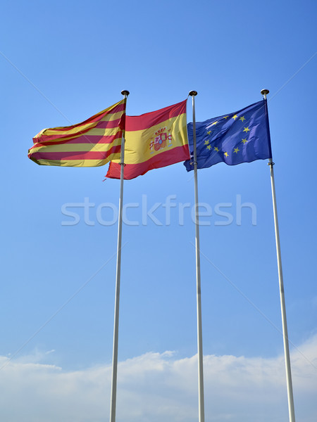 Flags of Catalonia, Spain and European Union waving. Stock photo © Photooiasson